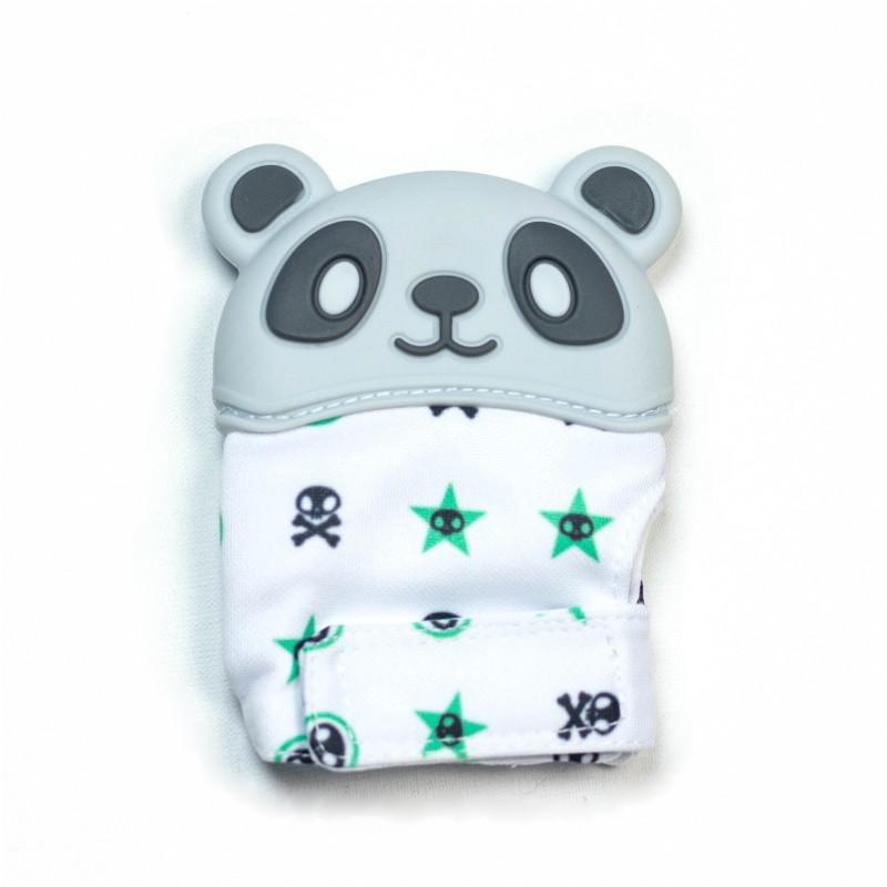Варежка-грызунок SLINGOPARK «Панда» (серый с принтом)