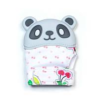 Варежка-грызунок SLINGOPARK «Панда» (серый с ягодами)