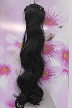 Волосы искусственные на заколках термоволокно волнистые черный