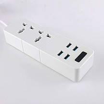 Сетевой фильтр удлинитель СЗУ ТВ-Т07, 2 розетки + 4 USB, 2м. кабель Black/White, Box