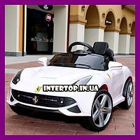 Детский электромобиль Ferrari на пульте с кожаным сиденьем, M 3176EBR-1 белый. Машина на пульте Феррари