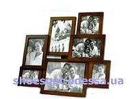 Фоторамка коллаж деревянная 40х36х1 см на 7 фото