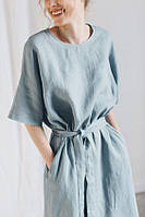 Сукня жіноча з льону - червона, соковита олива, яскраво жовтий, зелений , смарагд, фіолетовий кольори, фото 1