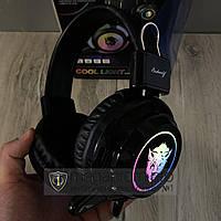 Игровые наушники проводные с микрофоном V8 RGB Cool Light геймерские для компьютера и ноутбука с подсветкой