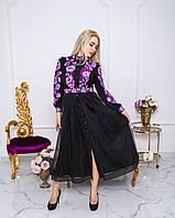 Оригінальне плаття стильне жіноче плаття з довгим рукавом і вишивкою