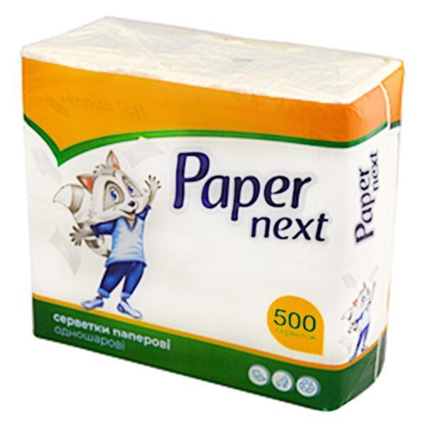 Серветки столові Paper Premium Soft одношарові білі 22×22 см 500 шт