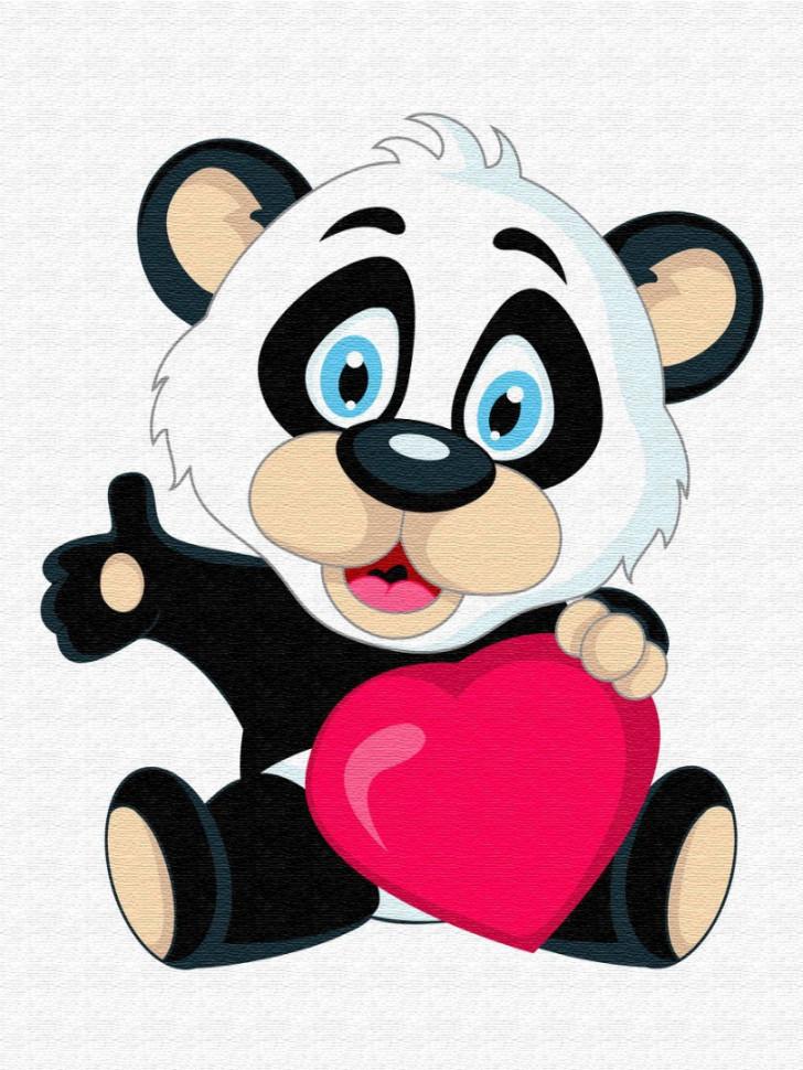 Детская картина по номерам. Brushme   Панда с сердцем