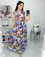Платье в пол, яркое, пестрое, нарядное Голубой, фото 1