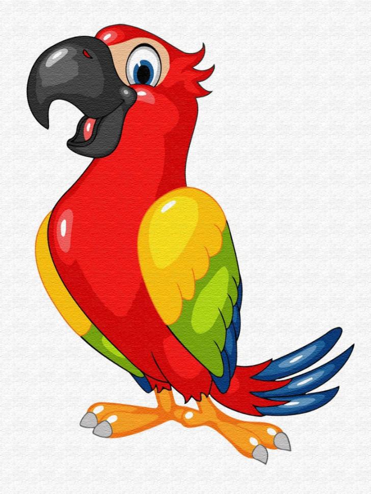 Детская картина по номерам. Brushme   Красочный попугай