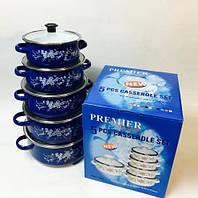 Набор эмалированных кастрюль с стеклянными крышками из 5 шт PREMIER PR-673 Синий