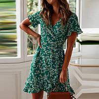 Платье женское летнее короткое на запах с воланами в мелкий цветочек (зеленое)