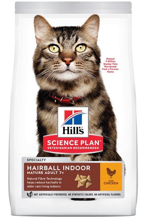 Корм Хіллс SP FelMatAdult7+HB&InCh з кур,для котів у зрілому віці які мешкають у  примнях з контршерсті,1,5 кг