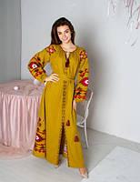 Яскраве довге ошатне зручне плаття з красивою вишивкою