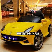 Детский электромобиль Ferrari на пульте, М 3176 желтый. Машина на пульте Феррари