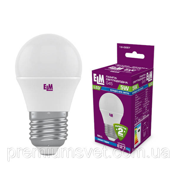 Лампа ELM Led сфера 5W PA10L E27 4000 D45 (18-0087)