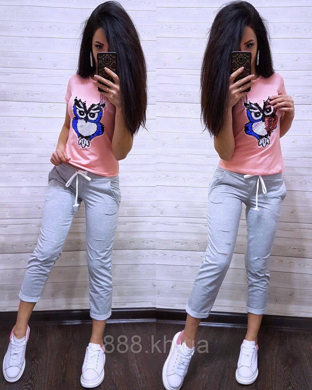Стильная женская футболка с паетками S/M/L/XL