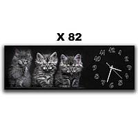 Большие часы на стену в детскую комнату Три котенка 30х90 см