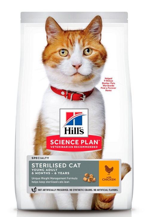 Корм Хіллс SP Fel Young Adult Sterilised Cat Ch з куркою для дорослих стерілізованих котів та кішок, 0,3 кг