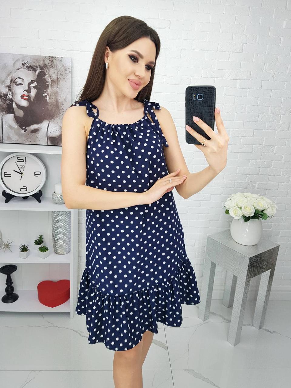 Платье яркое, в горошек, нарядное, стильное Синий
