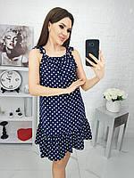 Платье яркое, в горошек, нарядное, стильное Синий, фото 1