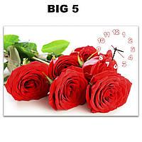 Большие дизайнерские часы на стену Красные розы 60х90 см