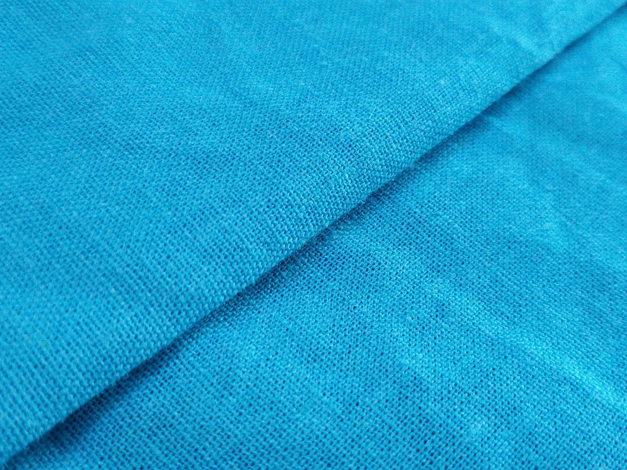 Лен однотонный, яркий голубой
