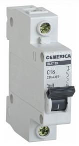 Автоматический выключатель ВА47-29 1Р 16А 4,5кА х-ка С GENERICA MVA25-1-016-C
