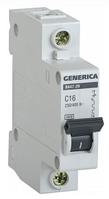 Автоматический выключатель ВА47-29 1Р 16А 4,5кА х-ка С GENERICA MVA25-1-016-C, фото 1