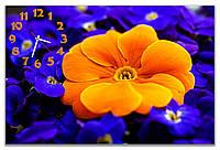 Большие часы на стену красивые  Желтые и синие цветы 60х90 см