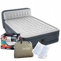 Двуспальная надувная кровать с подголовником Intex 64448 и встроенным электронасосом (152*236*86 см), 11/72.1