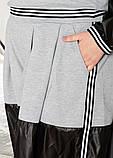 Стильный прогулочный  комбинированный костюм с широкой юбка-шорта и свитшот, 3цвета,  р.42-46,48-52 код 2111Б, фото 4