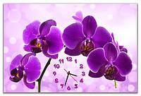Большие часы на стену кварцевые  Фиолетовая орхидея 60х90 см