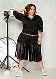 Стильный прогулочный  комбинированный костюм с широкой юбка-шорта и свитшот, 3цвета,  р.42-46,48-52 код 2111Б, фото 10