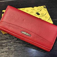 Класичний червоний жіночий гаманець (кошелек) із натуральної шкіри Tailian