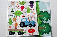 "Фетр с рисунком принтом ""Синий трактор, овощи"" набор ПСМ 01, фото 1"