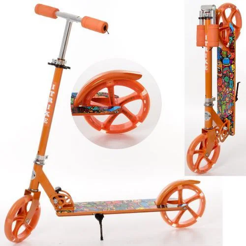 Детский двухколесный складной самокат iTrike SR 2-010-1-OR-L , колеса PU -20 см, оранжевый