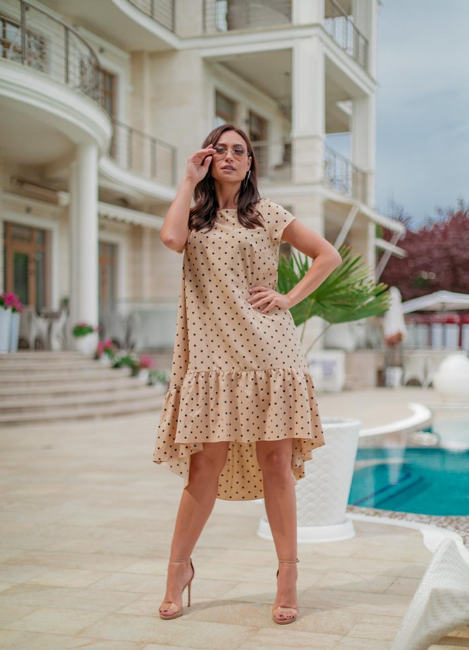 Платье в пастельных тонах, свободного кроя, больших размеров