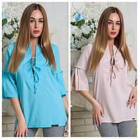 Блуза летняя удлиненная из тонкой ткани софт, с завязками на декольте и рукавах, р.46,48 код 3507М