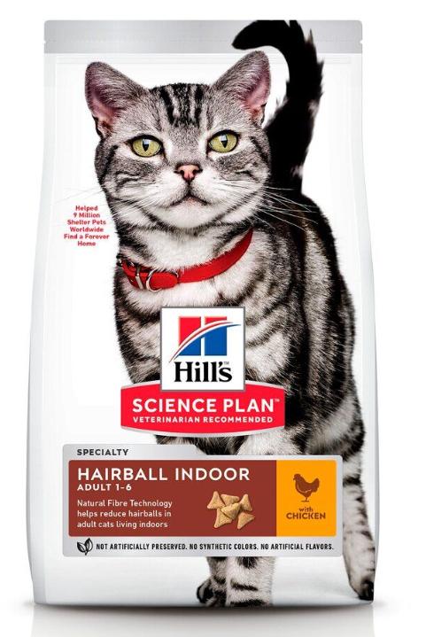 Корм Хіллс SP Fel Adult HB&Indoor Контроль кульок шерсті для дорослих котів які мешкають у приміщеннях, 0,3 кг