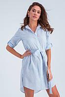 Летнее платье-рубашка «Савана» голубое
