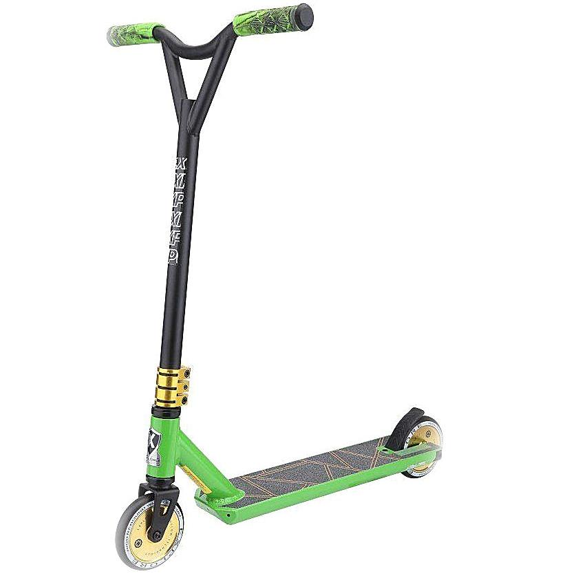 """Трюковый самокат Explore """"Leidart-Pro"""" алюминиевый с легковесной усиленной рамой, Чёрно-зелёный"""