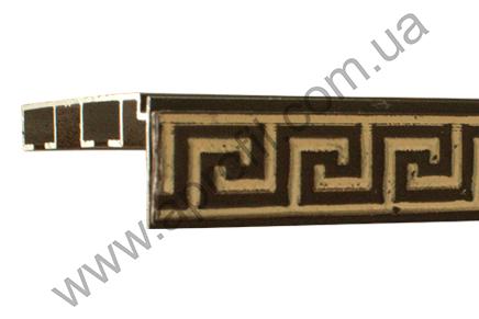 """Карниз для штор алюминиевый """"Модель 05М"""" коричневый с широким декоративным молдингом."""