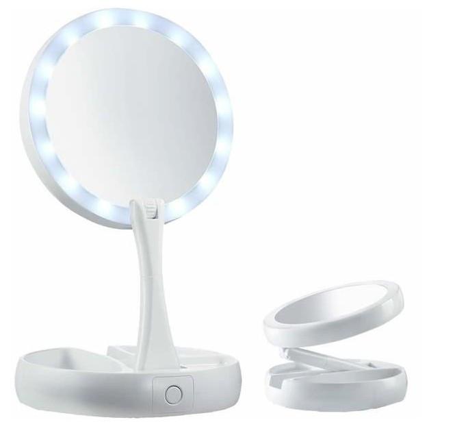 Настольное зеркало для макияжа My Foldaway Mirror Складное с подсветкой Белый (239051)