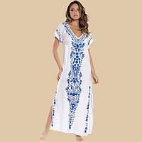 Туника-платье пляжная женская белая с голубой вышивкой длинная с разрезами, хлопковая, фото 1
