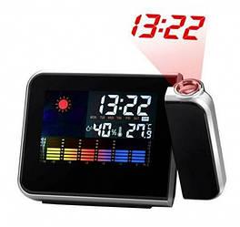 Домашняя метеостанция с часами и проектором времени Color Screen Calendar 8190 (88511)