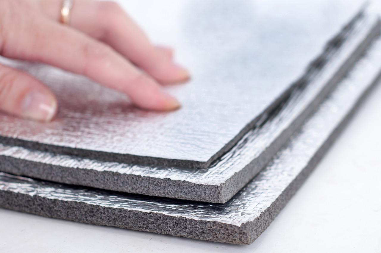 Химически сшитый пенополиэтилен, т. 3 мм,  фольгирован алюминиевой фольгой с двух сторон, TERMOIZOL®