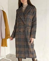 Пальто в клетку ROMASHKA на пуговицах с карманами, Коричневый S (192312)
