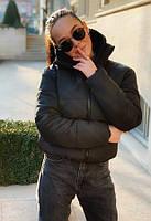 Женская короткая куртка с воротником-стойкой Exclusive Размер S (44) Черная (1923019)