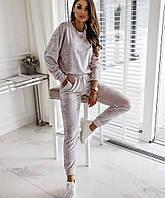 Удобный женский спортивный костюм на прохладное лето кофта и штаны пудра