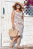 Платье на пуговицах, удобное, легкое, больших размеров Белый, фото 1